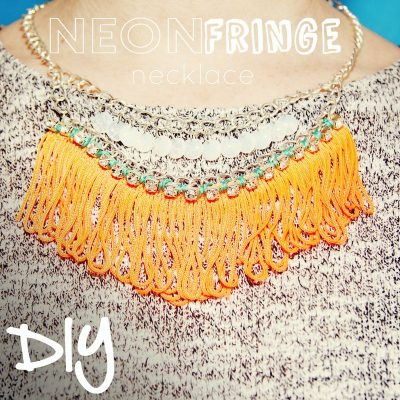 DIY Neon Fringe Necklace