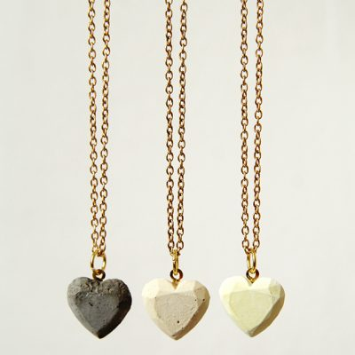 DIY Concrete Love Hearts Necklace