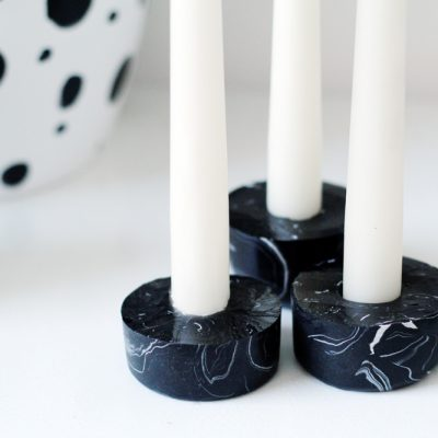 DIY Black Marbled Candle Holders