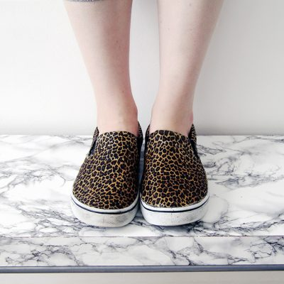 DIY Leopard Print Slip Ons
