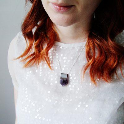 DIY Raw Semi Precious Stone & Silver Pendant Necklace