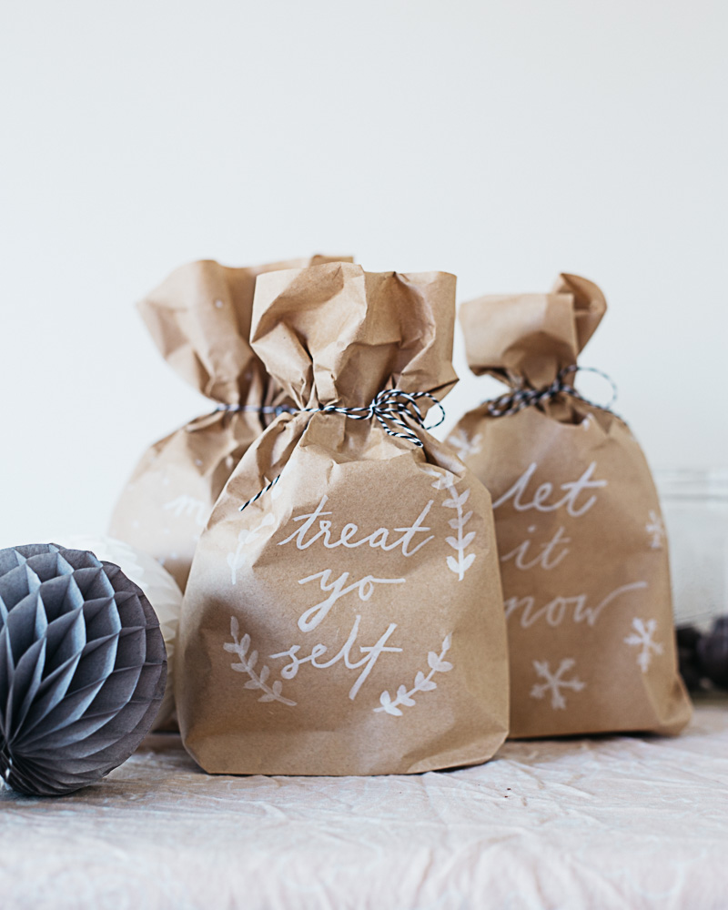 DIY Brush Lettered Gift Bags