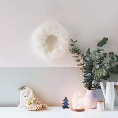 DIY Faux Sheepskin Christmas Wreath