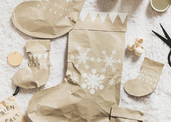 DIY Parcel Paper Stocking Gift Wrap
