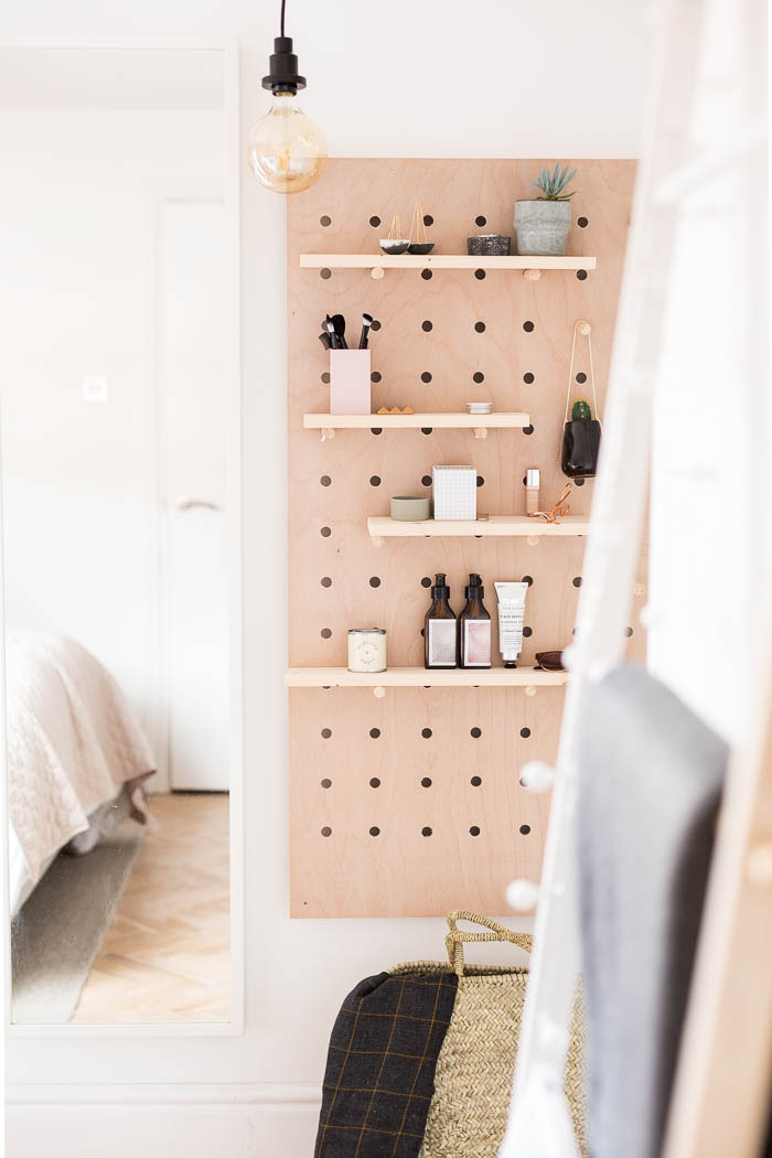 DIY Standing Vanity with Pegboard & Hidden Mirror Storage