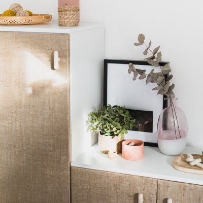 DIY Hessian Cabinet Doors
