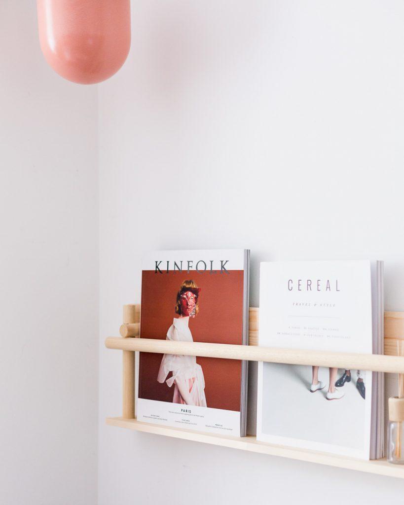 DIY Dowel Magazine Shelf
