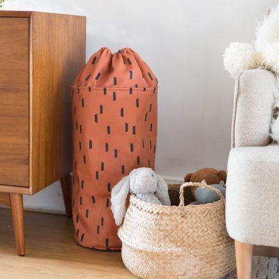 DIY Denim Bucket Toy Storage Bag with Drawstring Top Tutorial