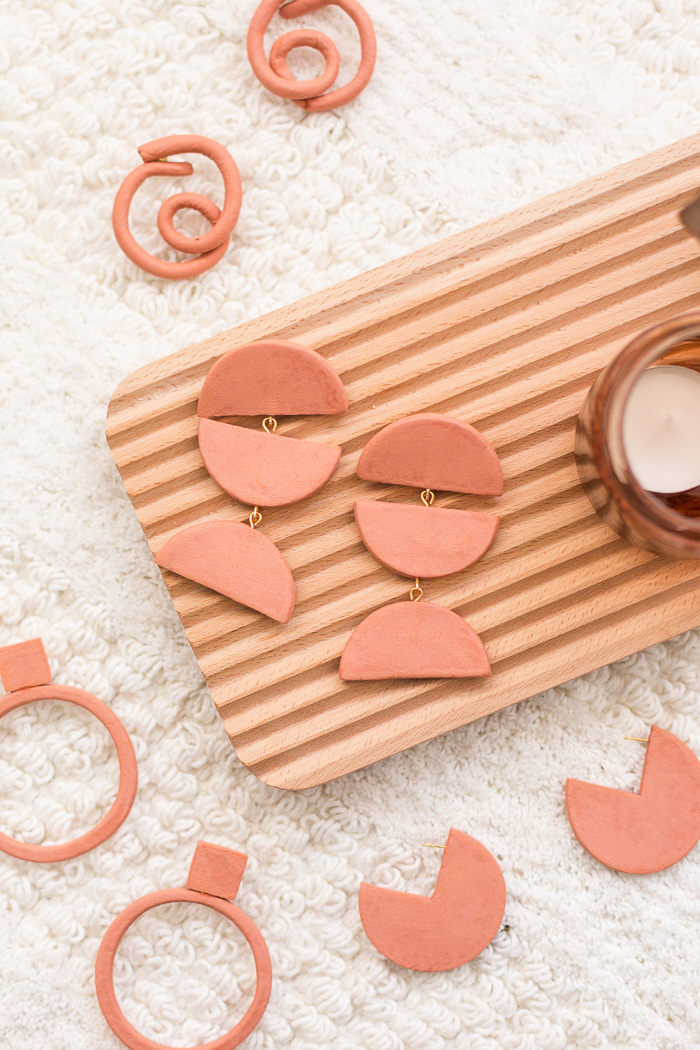 DIY Terracotta Air Dry Clay Earrings - Four Ways