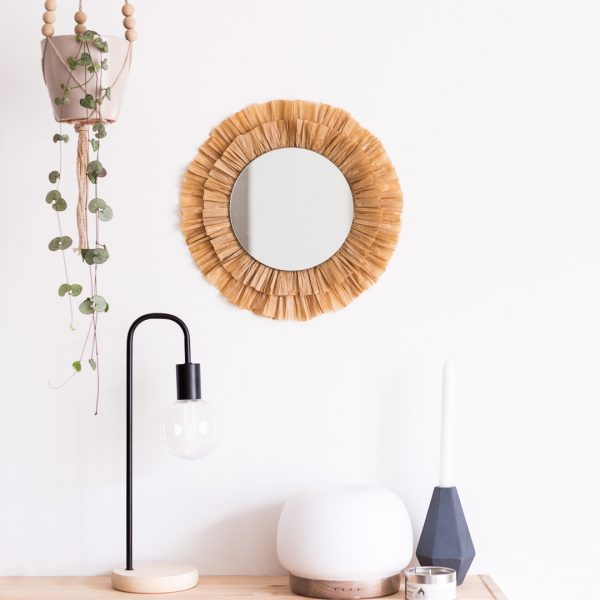 DIY Raffia Tasseled Mirror