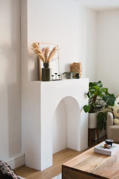 DIY Arched Faux Fireplace