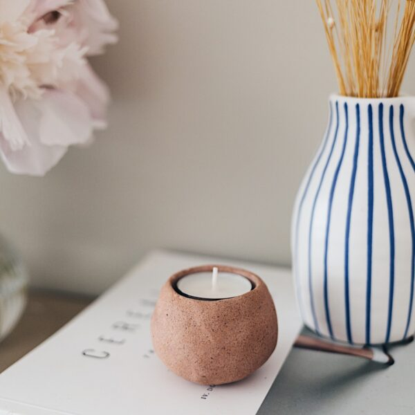 DIY Faux Stoneware Candle Holder
